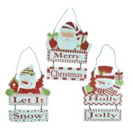 "12.5 "" Santa / Snowman Wood Hanging Plaque"