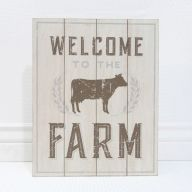 "12 "" x 15 "" x 1.5 "" Wood Sign "" Welcome To The Farm "" w / Cow"