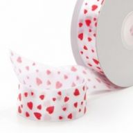 "1.5 "" X 20yd Floral Satin Sweet Hearts - Red / White"
