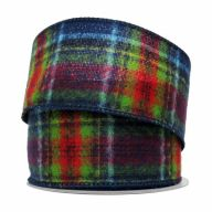 """2.5"""" X 10yd Wired Canby Plaid Ribbon - Multi"""