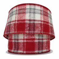 """2.5"""" X 10yd Wired Verne Plaid Ribbon - Red / Grey / White (311040)"""