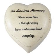 """6 x 6 """" Resin In Loving Memory Heart Memorial Stone w / Distressed Finish Without Pedestal"""