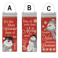 "16""H Metal Holiday Snowman Hanging Sign"