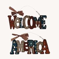 "14.5 "" Wood Hanging Patriotic Sign"