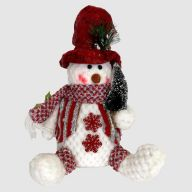 "10""H Plush Holiday Sitting Snowman Figurine"