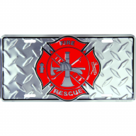 "6"" X 12"" Firefighter Shield Diamond Car Tag w/ Maltese Cross"