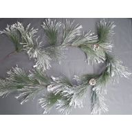 6' Flocked Wispy Pine Garland w/ Pinecone