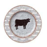 "10"" Metal Plate Plaque - Cow"