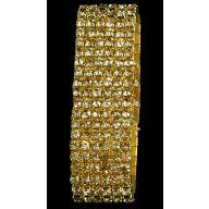 5 Row Rhinestone Wristlet - Gold