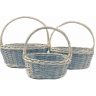 3 pc Oval Wood Basket w / PVC Liner L - 16.25 X 11.75 X 6.75,  S - 11.25 X 8.25 X 5.25   ( 65 % Wood , 35 % Willow ) - Greywash