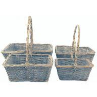 4 pc Rectangle Wood Basket w / PVC Liner   L-16.25 X 12.25 X 6.25,  S - 9.75 X 5.75 X 4.50   ( 65 % Wood , 35 % Willow ) - Greywash