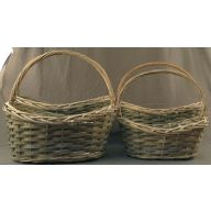 4 Piece Oval Willow Basket With liner - Grey