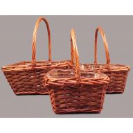S / 3 Square Willow Basket w / PVC Liner