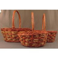 S / 3 Oval Willow Basket w / PVC Liner - Stain