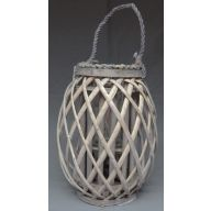 Wood Lattice Lantern w / Glass 7 x 19.75 ""