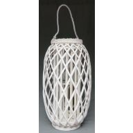 Wood Lattice Lantern w / Glass 5.5 x 12.25 ""