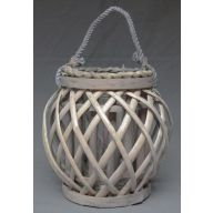 Wood Lattice Lantern w / Glass 5.5 x 8""