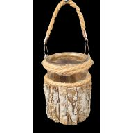 4 X 4 X 6 Wood Centerpiece w / Rope Handle w / Glass