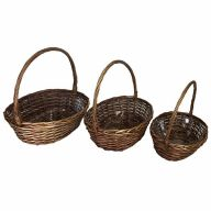 S/3 Oval Basket w/ Hard Plastic Liner - Stained