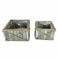 "S/2 Square Wood Rope Planter w/ Sewn Liner L-9.5"" X 9.5"" X 5, S-7"" X 7"" X 4.75"""