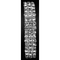 3 Row Rhinestone Wristlet W Ribbon - Crystal