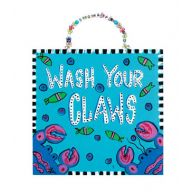 "9.5 "" Wooden Wash Your Claws Sign"