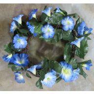 "18 ""  Vine Wreath w / Blue Petunias"