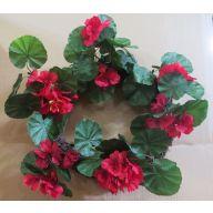 """18 """" Vine Wreath w / Red Geranium"""