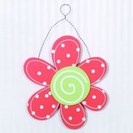 "10.5 "" x 10.5 "" x .25 "" Wooden Hanging Flower - Coral"