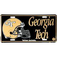 "6 x 12 "" Collegiate Black Georgia Tech w / Gold Helmet Car Tag"
