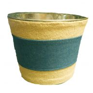 "6 X 7.5 "" Burlap Planter W Denim Stripe"