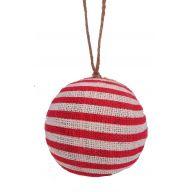 """4 """" Burlap Stripe Ornament - Red / White"""