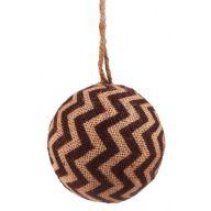 "4 "" Burlap Chevron ornament - Chocolate / Natural"