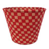 "7 "" Burlap Check Pot - Red / Natural"