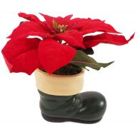 Santa Boot W Large Red Poinsettia