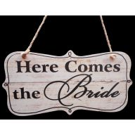 "12""W x 5.25""H - ""Here Comes The Bride"" MDF Sign"