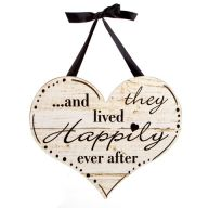 And They Lived Happily Ever After Wall Decor w / Ribbon Hanger 15.5 x 13.75 ""