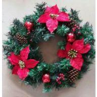 "20"" Pine Wreath W/Red Poinsettia/Ornaments/Berries"