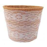 "5 "" Burlap Planter W Lace Cover"