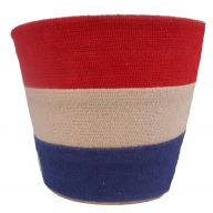 "7 "" Burlap Stripe Planter - Red / Natural / Royal"