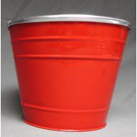 "7 "" Red Pot Cover w / Steel Rim"