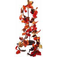 6 ' Printed Leaf W / Berries & Vine Garland - Orange / Red / Green