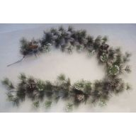 6' Needle Iced Garland w/ Snowy Pine / Pine Cones