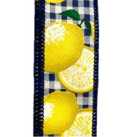 50yd Wired Navy / White Gingham w/ Lemons Ribbon - Yellow
