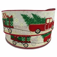 """2.5"""" X 50yd Ivory Linen Christmas Truck Tree Presents - Ivory / Red / Green / Gold / Black / White"""