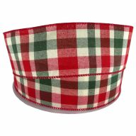 """2.5"""" X 50yd Red / Ivory / Green Wide Plaid"""