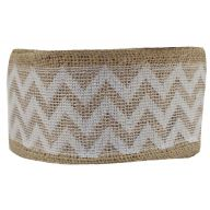 "2.5 "" X 10yd Wired Burlap W Lace Chevron"