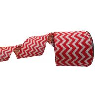 "4"" X 10YD BURLAP CHEVRON RIBBON - WHITE / RED"
