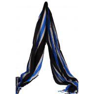"70 "" Striped Scarf - Black / Blue / Silver"