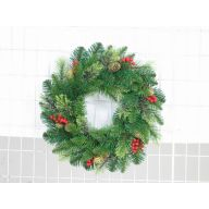 "30"" BEAR MOUNTAIN WREATH WITH CONES AND BERRIES 162 TIPS"